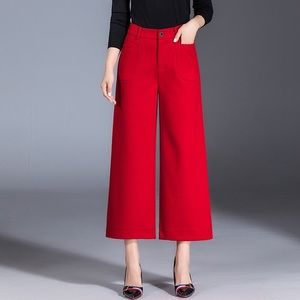Red long straight wide legs pants